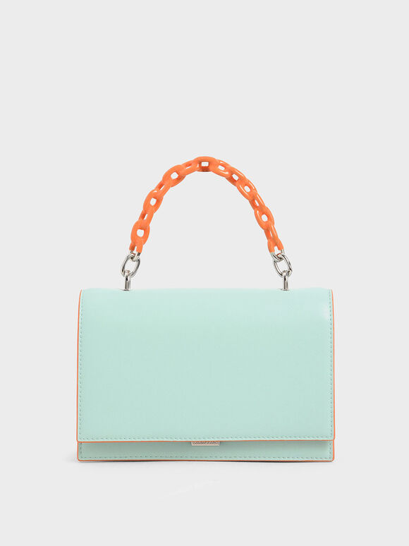 Two-Tone Chain Top Handle Bag, Mint Blue, hi-res