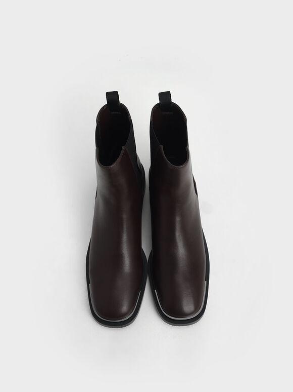 Metal Accent Chelsea Boots, Maroon, hi-res