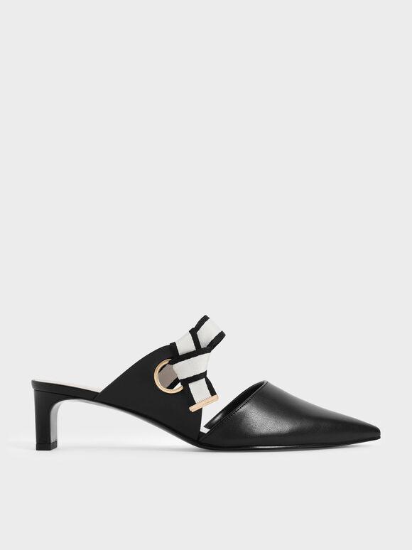 織帶扭結低跟鞋, 黑色, hi-res