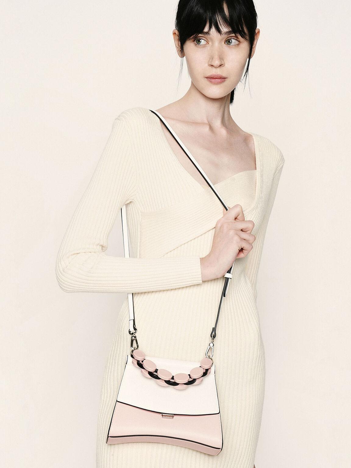 壓克力鍊條掀蓋包, 淺粉色, hi-res