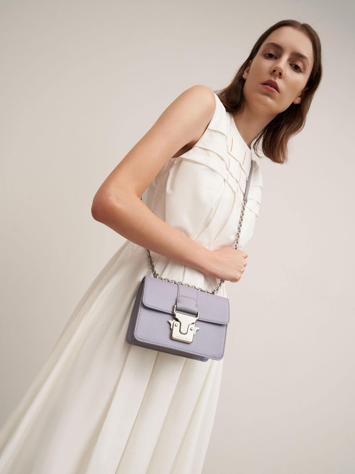 Push-Lock Shoulder Bag, Purple, hi-res