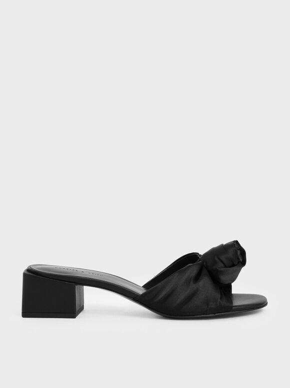 자카드 프론트 노트 슬라이드 샌들, Black, hi-res