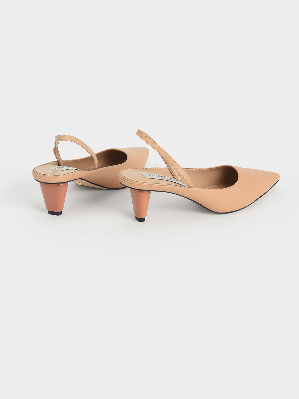 Leather Sculptural Heel Slingback Pumps, Nude, hi-res