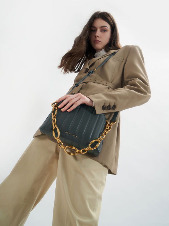 Chain Handle Panelled Crossbody Bag, Teal, hi-res