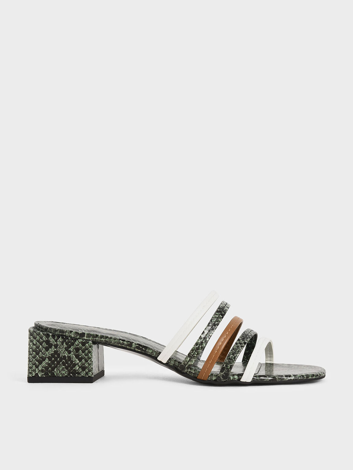 Snake Print Strappy Mules, Multi, hi-res