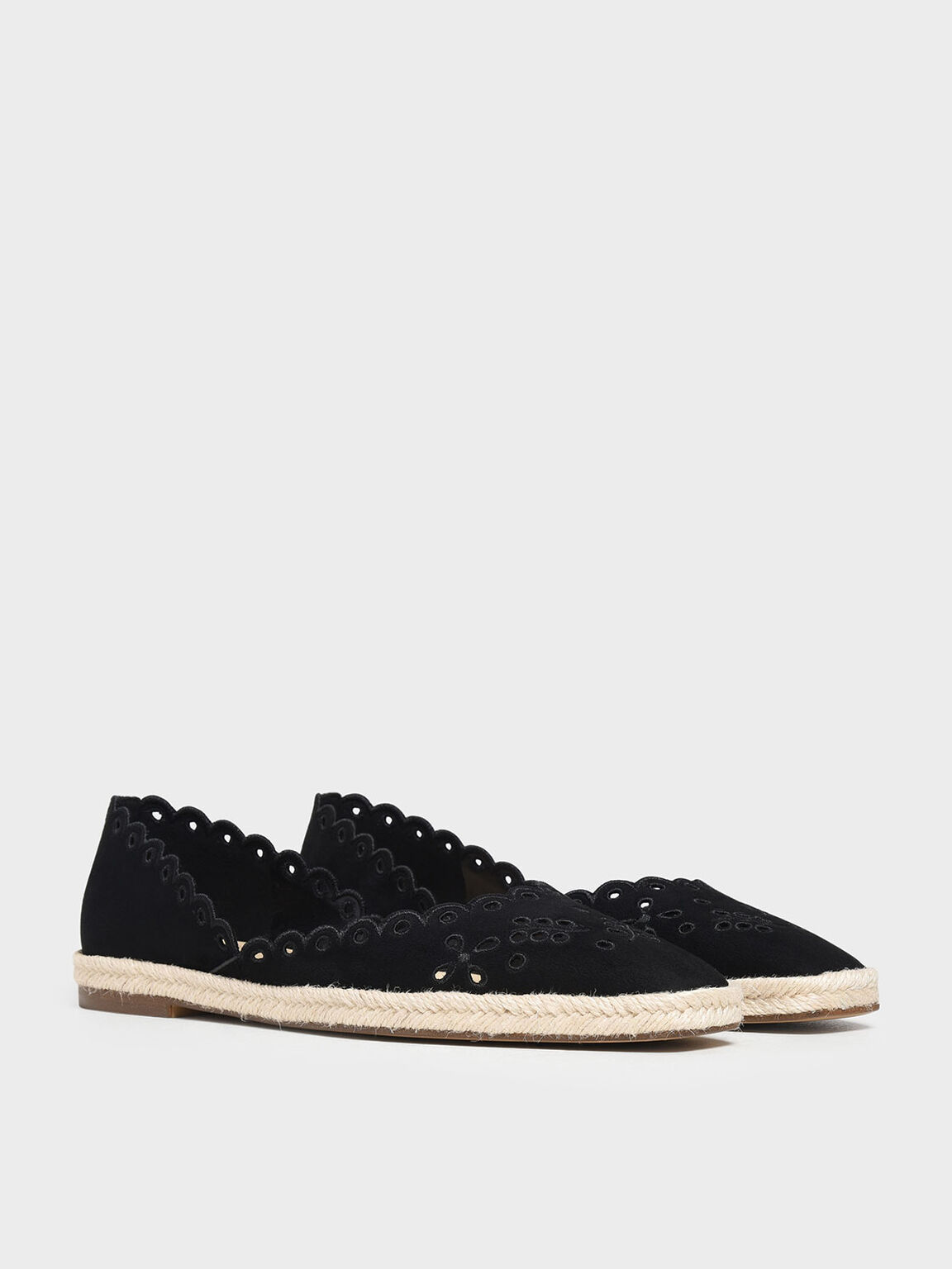Scalloped Espadrille Covered Flats, Black, hi-res