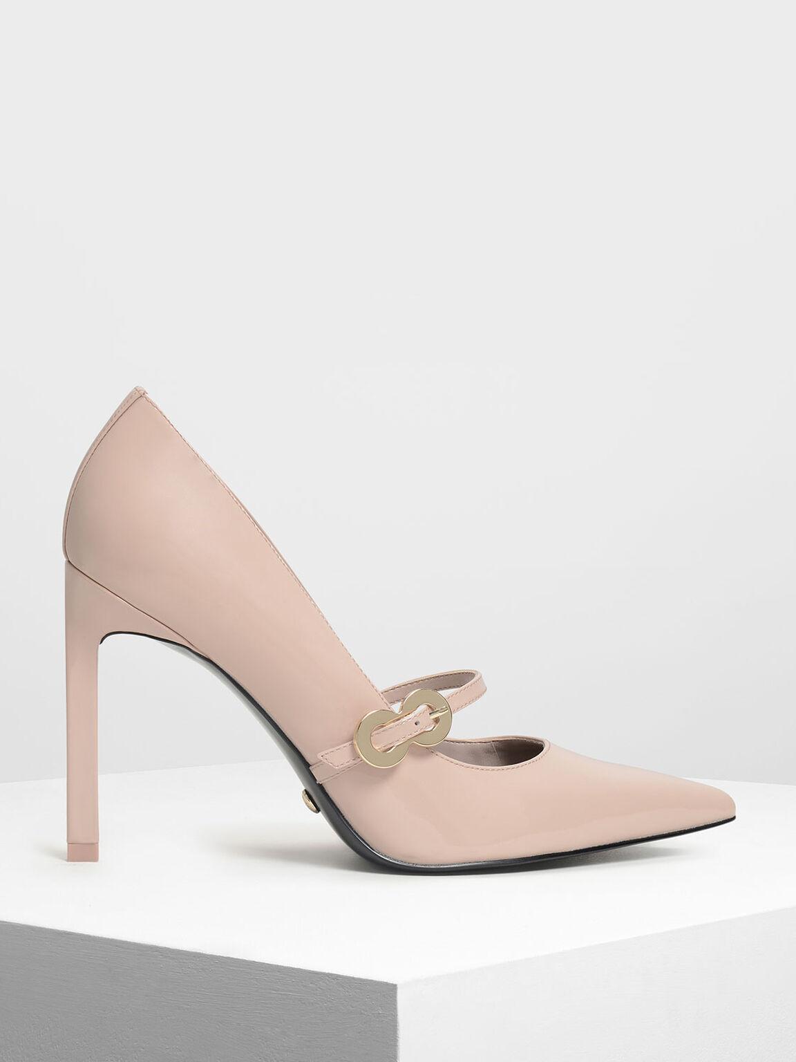 金屬扣環真皮高跟鞋, 膚色, hi-res