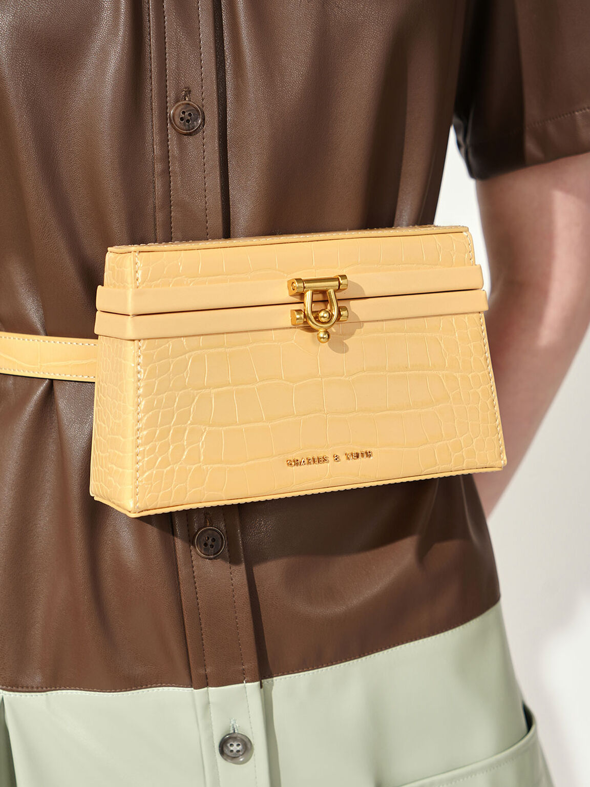 Croc-Effect Trapeze Belt Bag, Yellow, hi-res