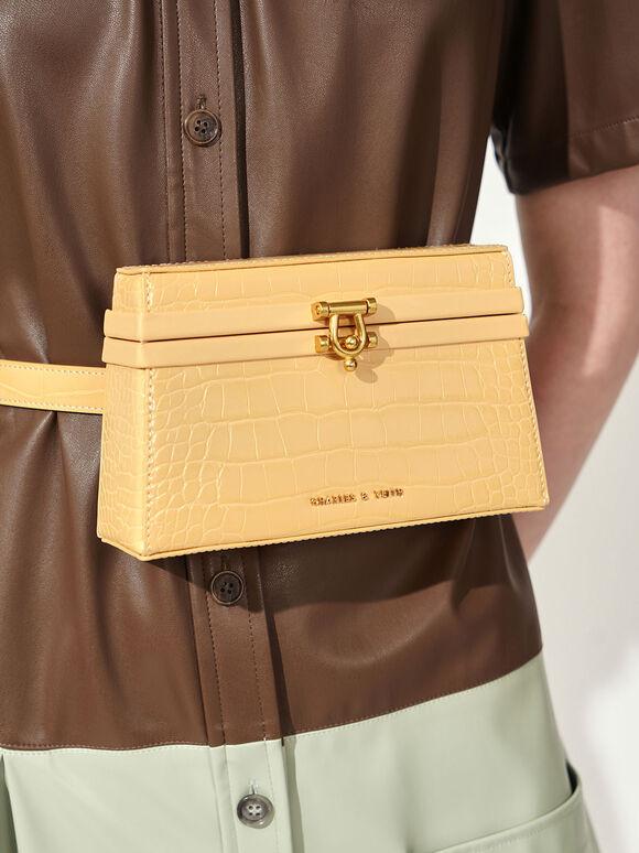 Croc-Effect Trapeze Belt Bag, Yellow, hi-res