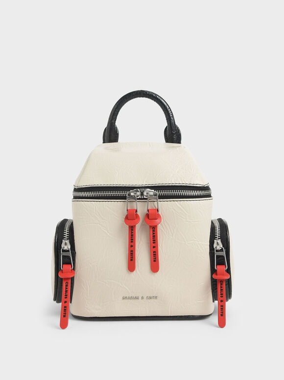 Wrinkled Effect Two-Way Zip Backpack, Cream, hi-res