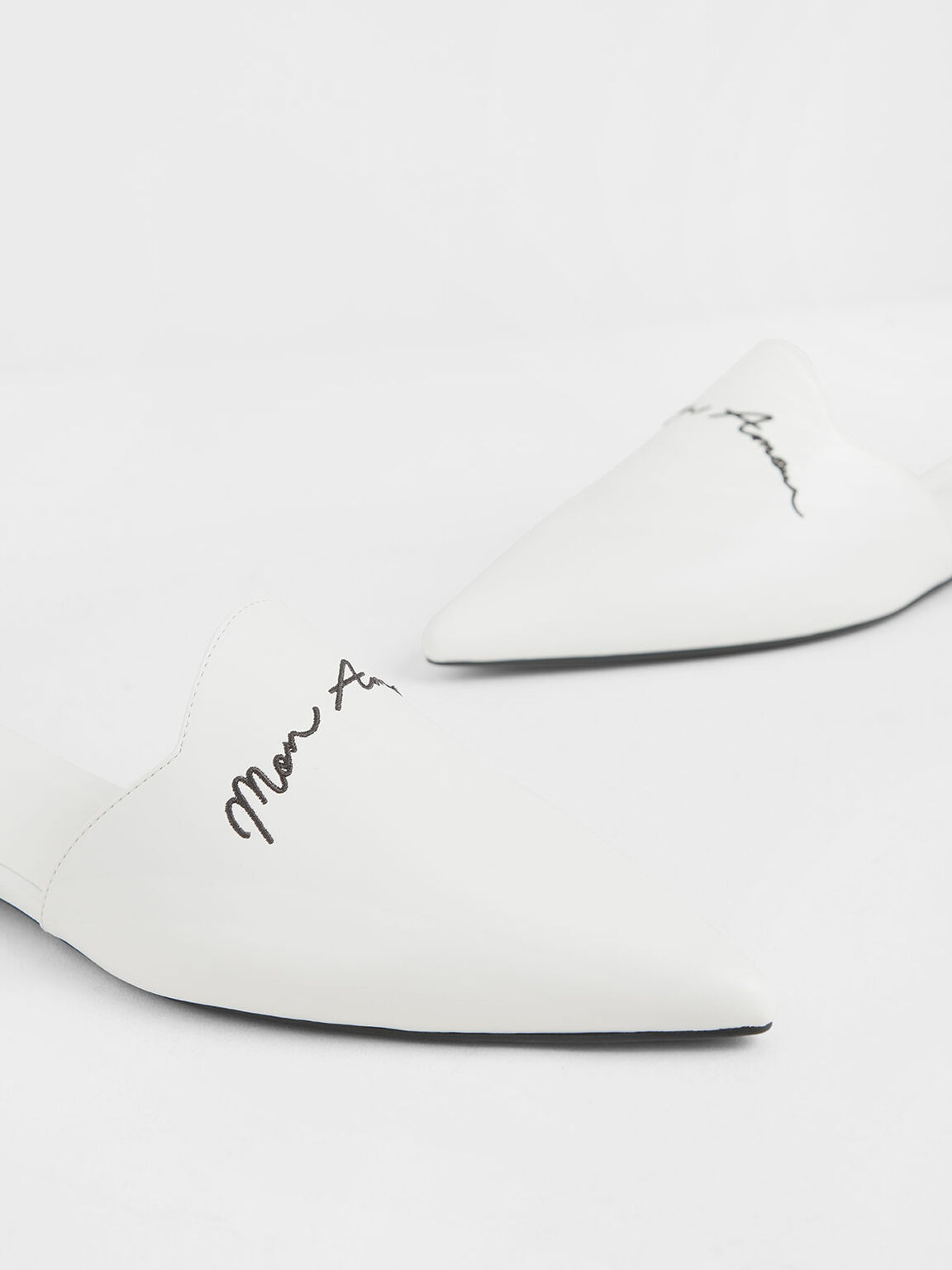 Embroidered Pointed Mules, White, hi-res