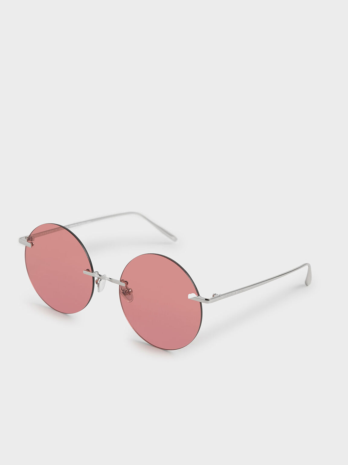 Round Rimless Sunglasses, Red, hi-res
