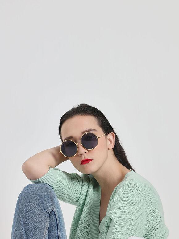 라운드 와이어-프레임 선글라스, 블루, hi-res