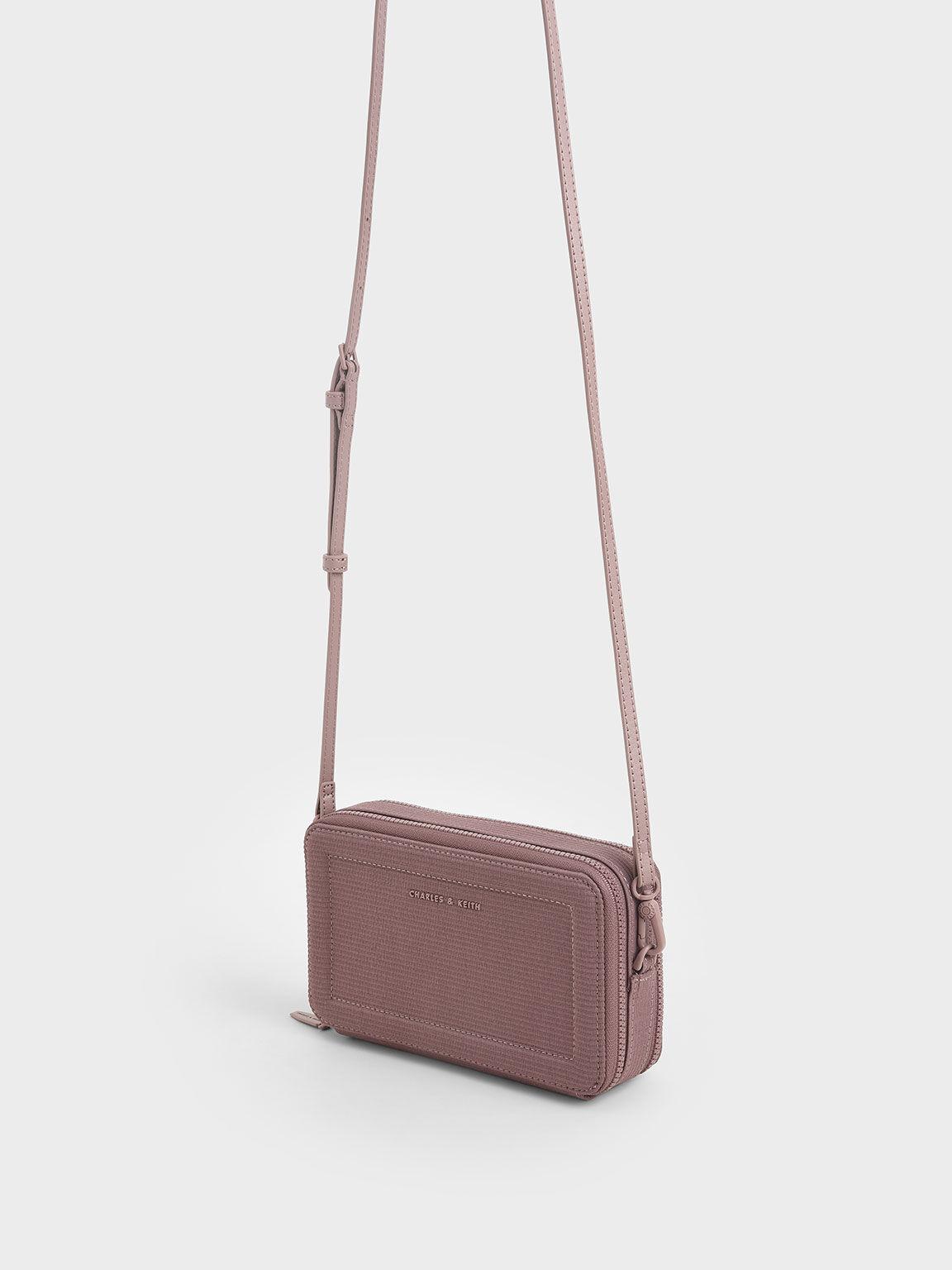 Grosgrain Stitch Trim Long Wallet, Purple, hi-res