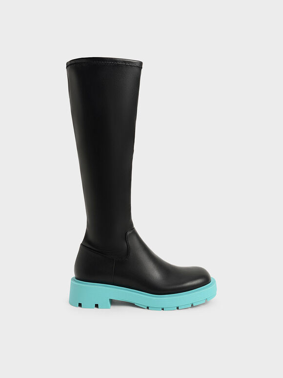 Rhys Coloured Sole Knee-High Boots, Blue, hi-res