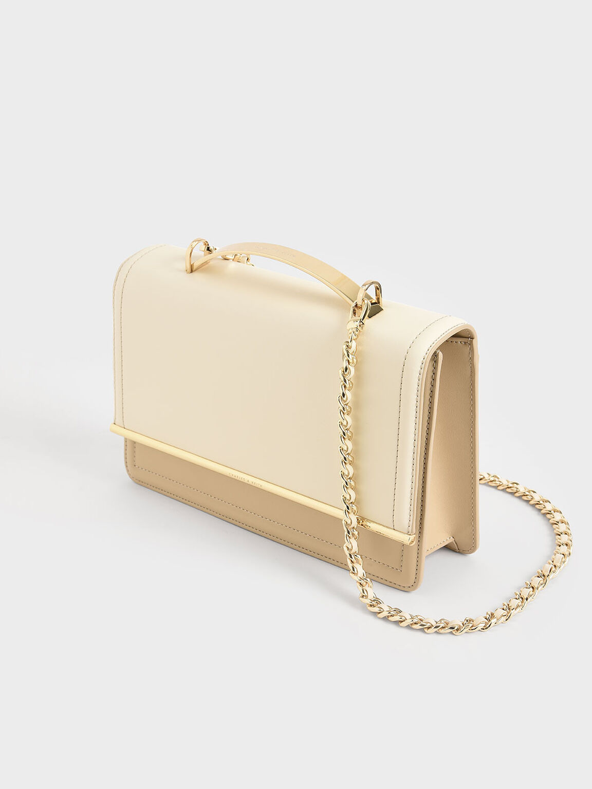 Two-Tone Clutch, White, hi-res