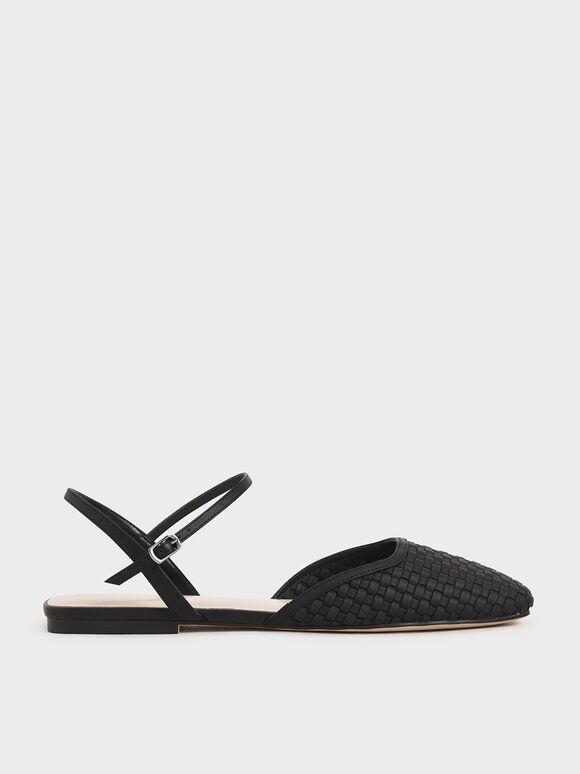 Woven Square Toe Flats, Black, hi-res