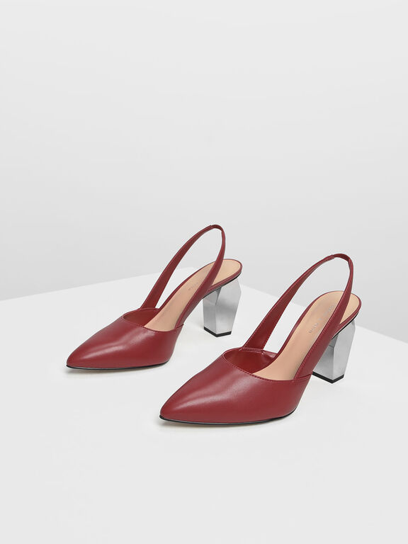 Geometric Chrome Heel Slingbacks, Red
