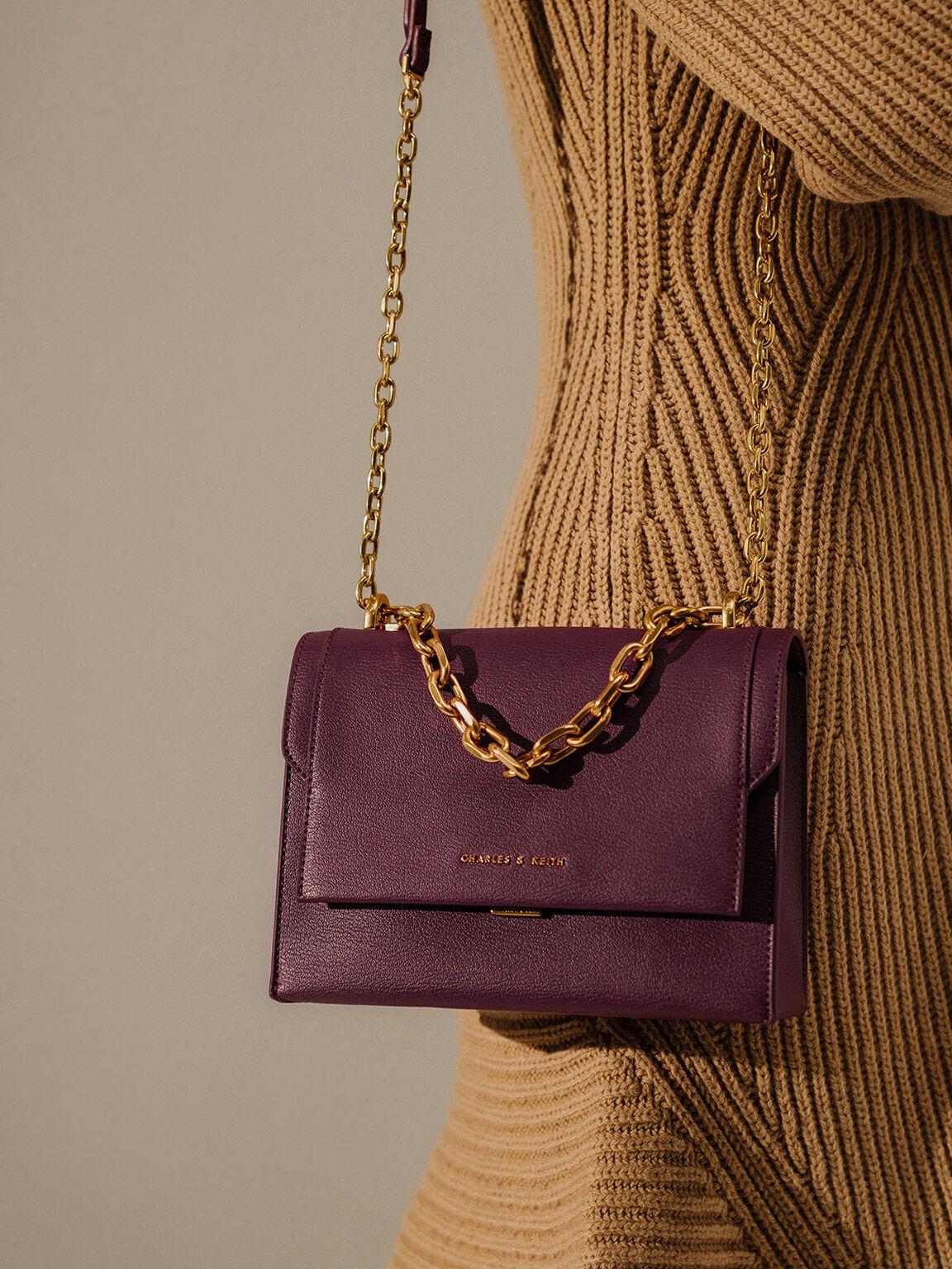 Chain Handle Evening Bag, Purple, hi-res