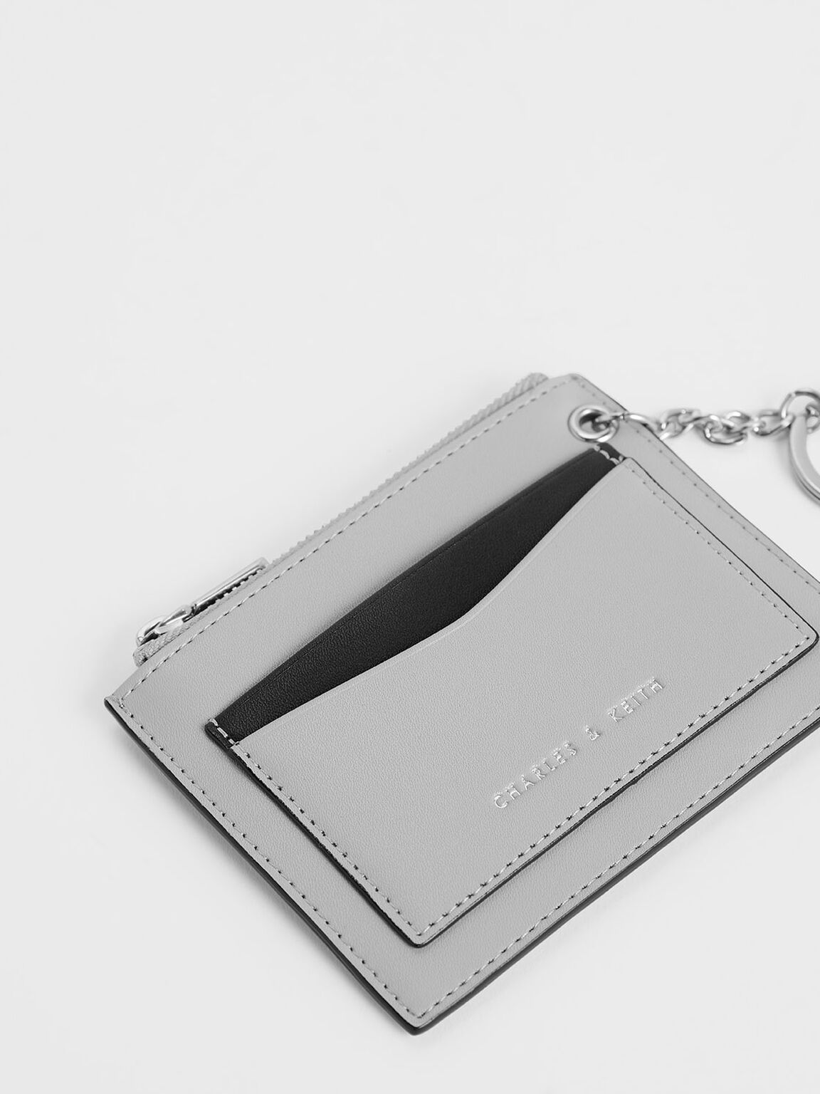 Two-Tone Zip Pocket Card Holder, Grey, hi-res