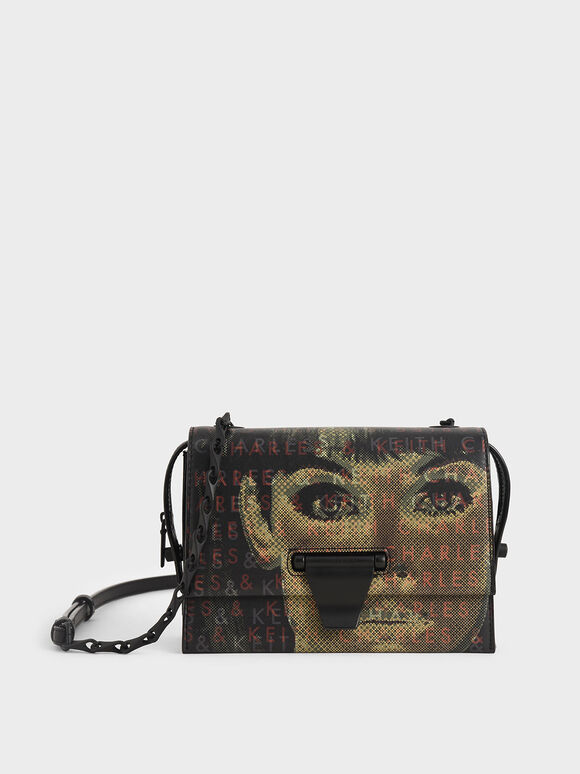 Graphic Printed Push-Lock Bag, Black, hi-res