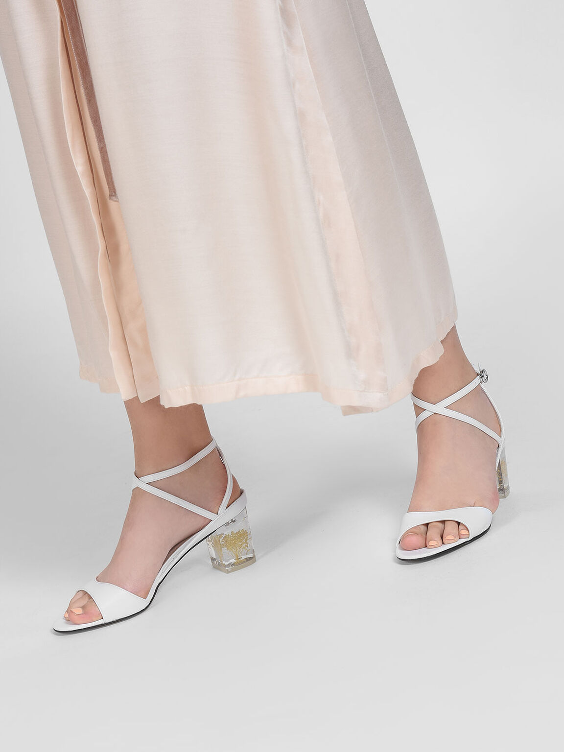 Floral Lucite Heel Sandals, White, hi-res