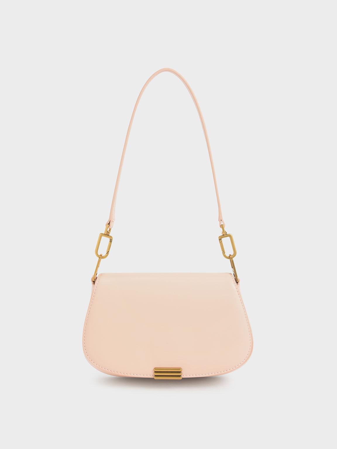 小型條紋釦肩背包, 淺粉色, hi-res