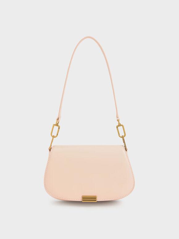 Metallic Accent Small Shoulder Bag, Light Pink, hi-res