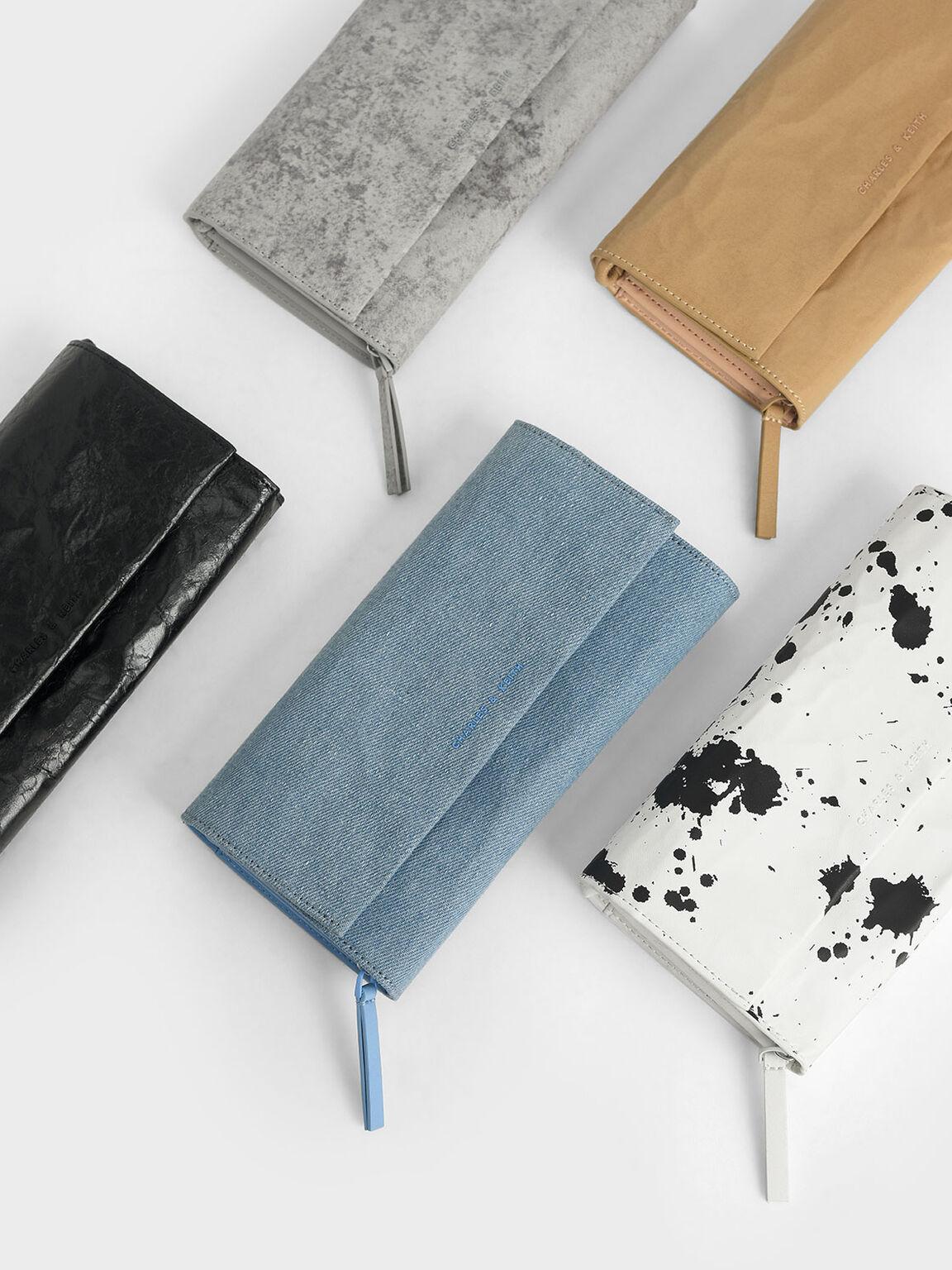 Textured Front Flap Long Wallet, Denim Blue, hi-res