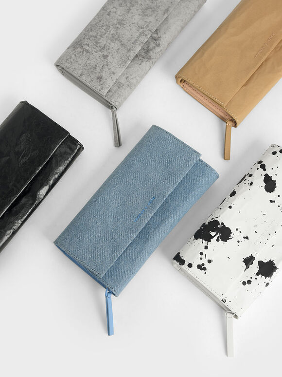 Textured Front Flap Long Wallet, Denim Blue, hi-res