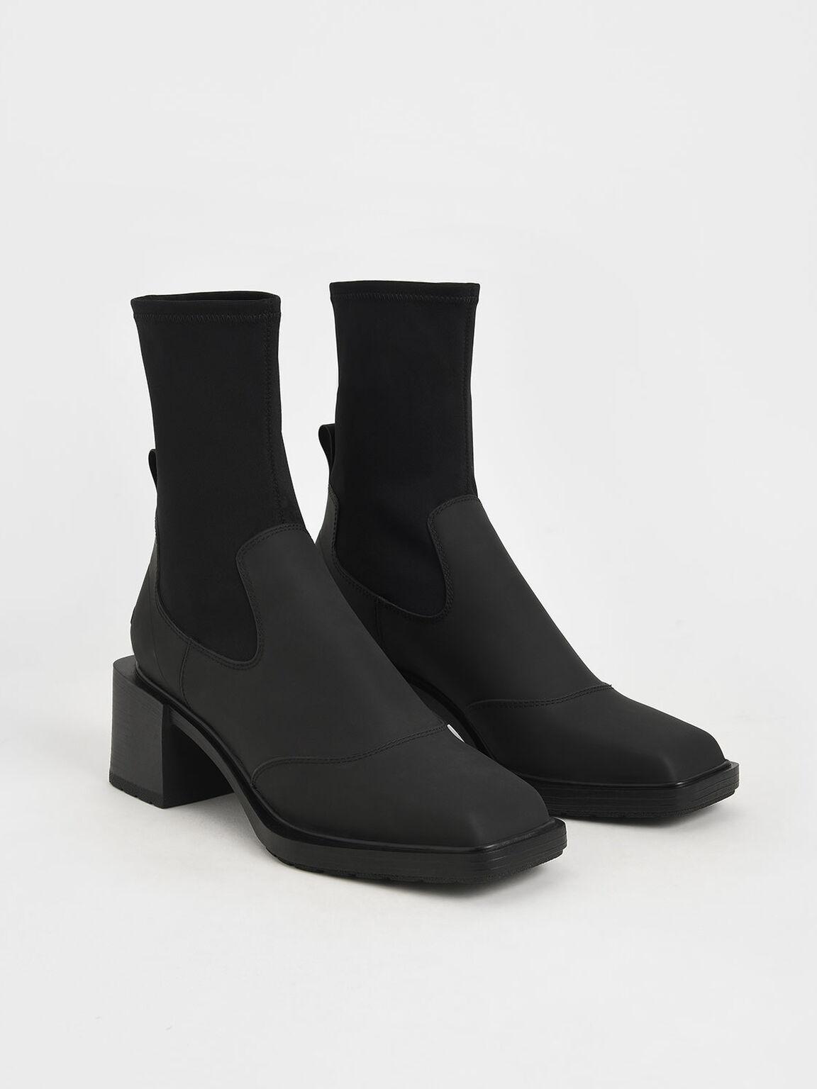 Block Heel Sock Boots, Black, hi-res