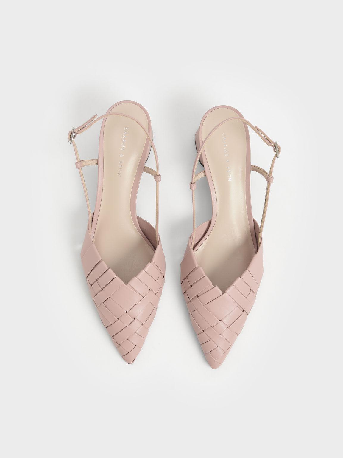 編織尖頭粗跟鞋, 淺粉色, hi-res