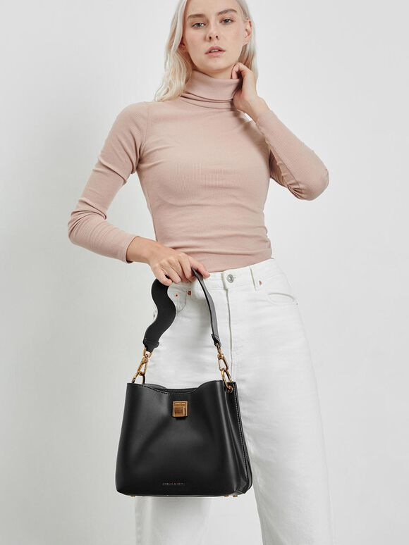 Buckle Shoulder Bag, Black, hi-res
