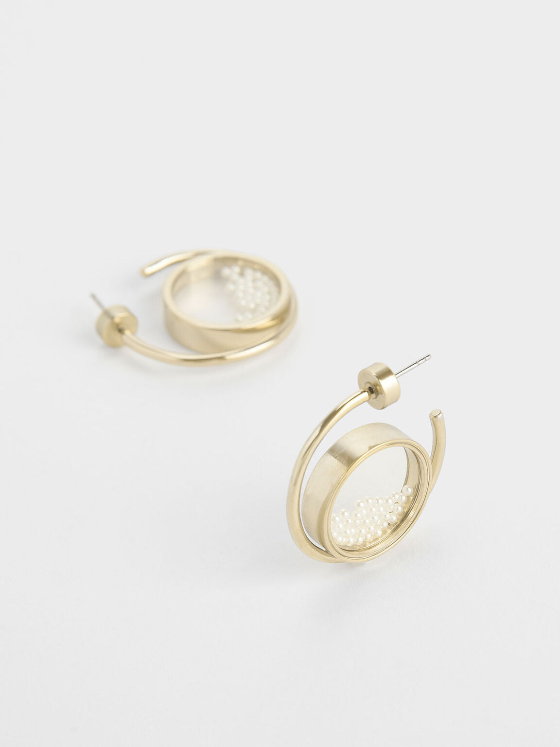 Pearl Finish Stone Floating Locket Hoop Earrings, Pearl, hi-res