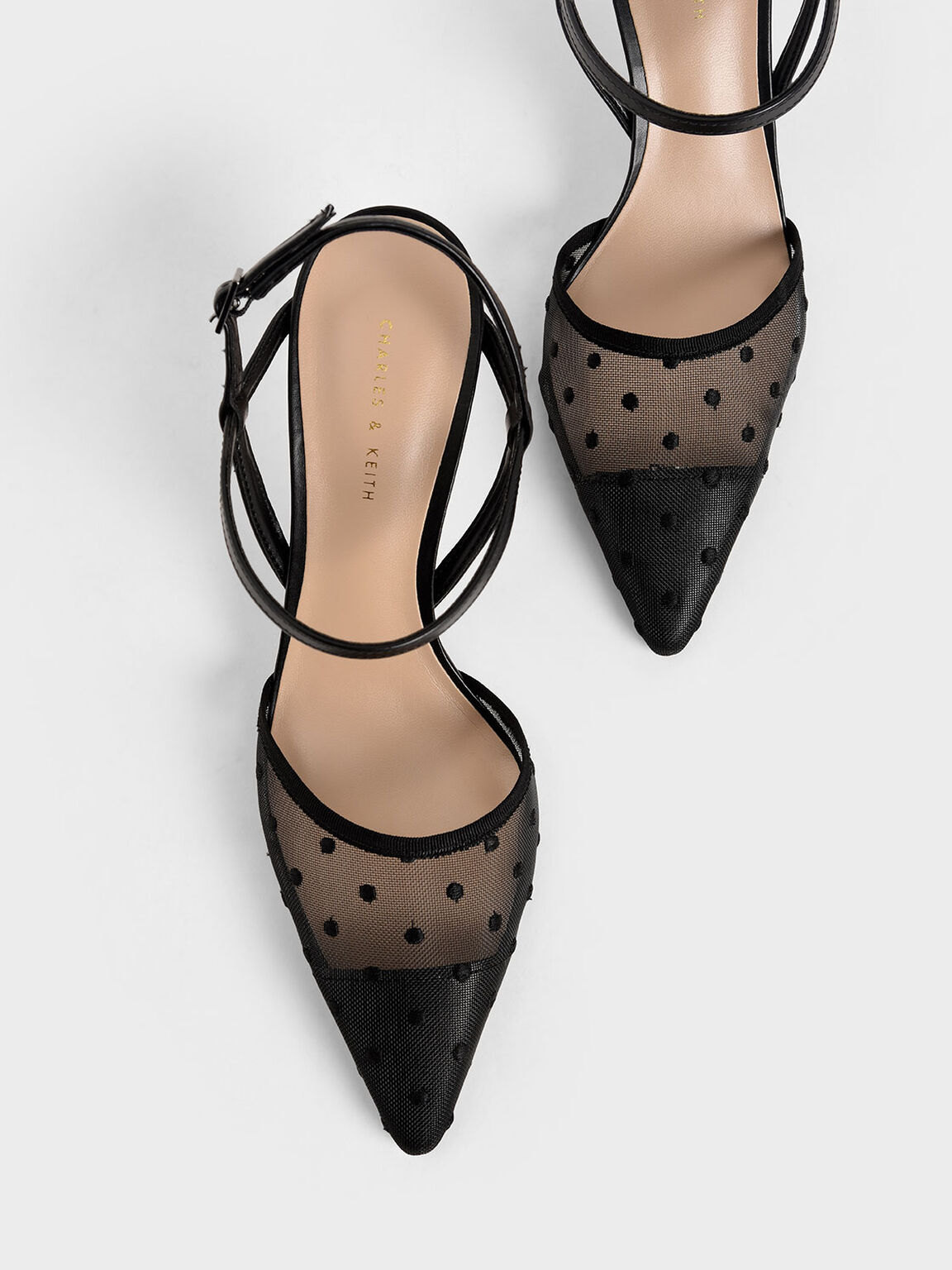 Mesh Ankle Strap Pumps, Black Textured, hi-res
