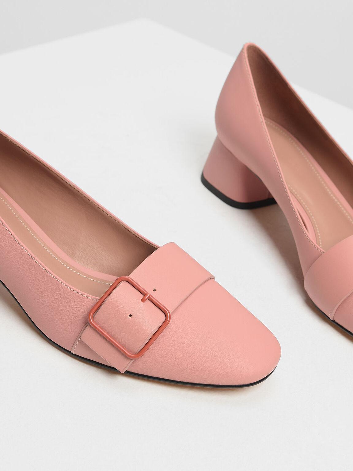 方扣粗跟鞋, 嫩粉色, hi-res