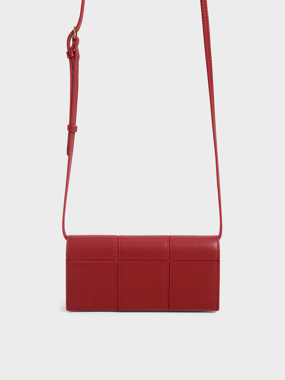 Panelled Long Wallet, Red, hi-res