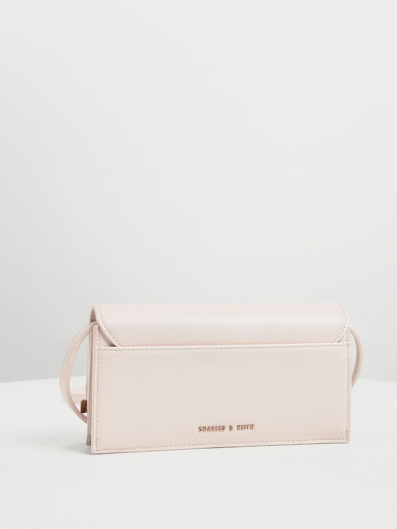 Wood-Effect Push Lock Long Wallet, Light Pink, hi-res