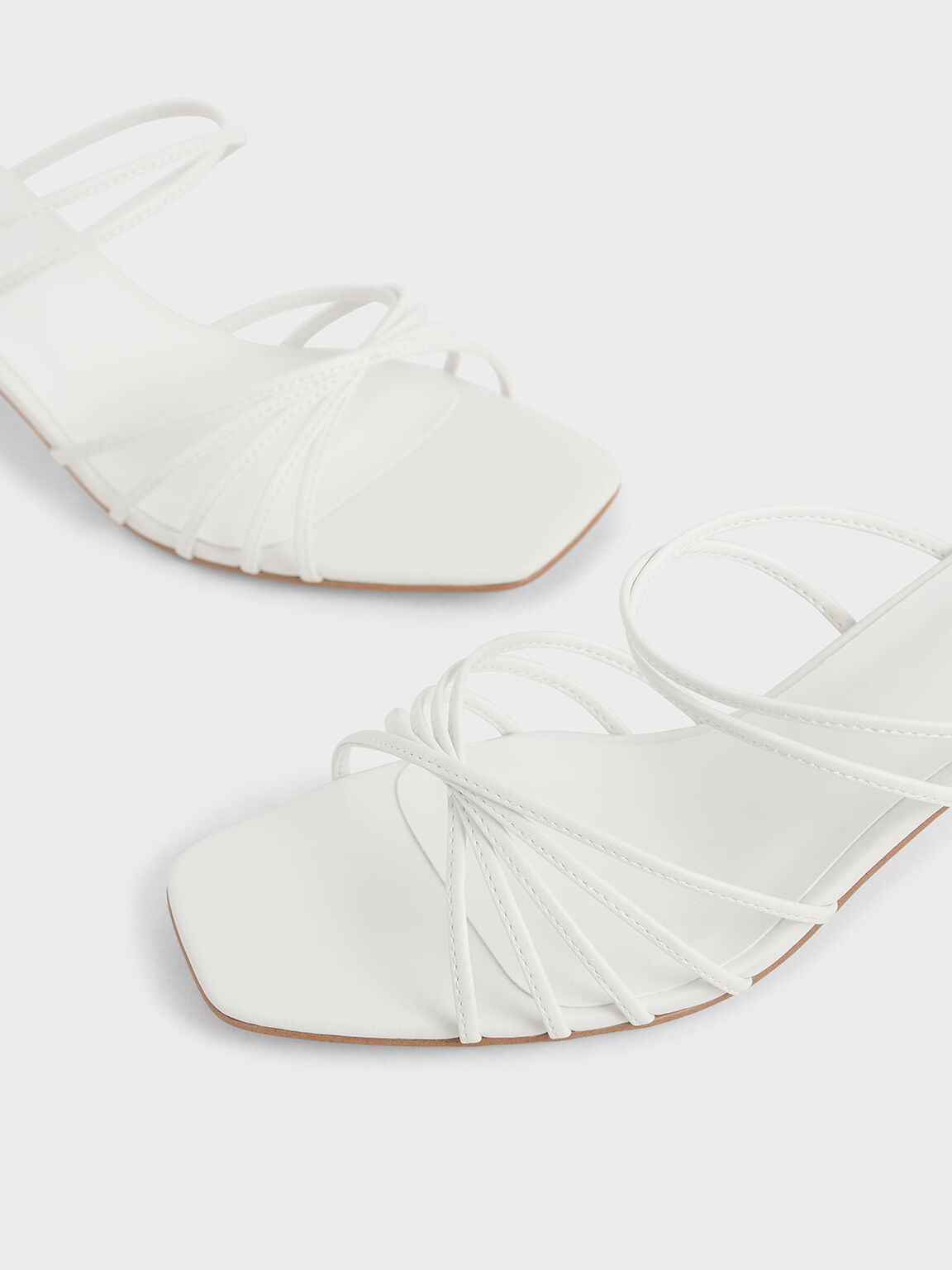 Strappy Square Toe Sandals, White, hi-res