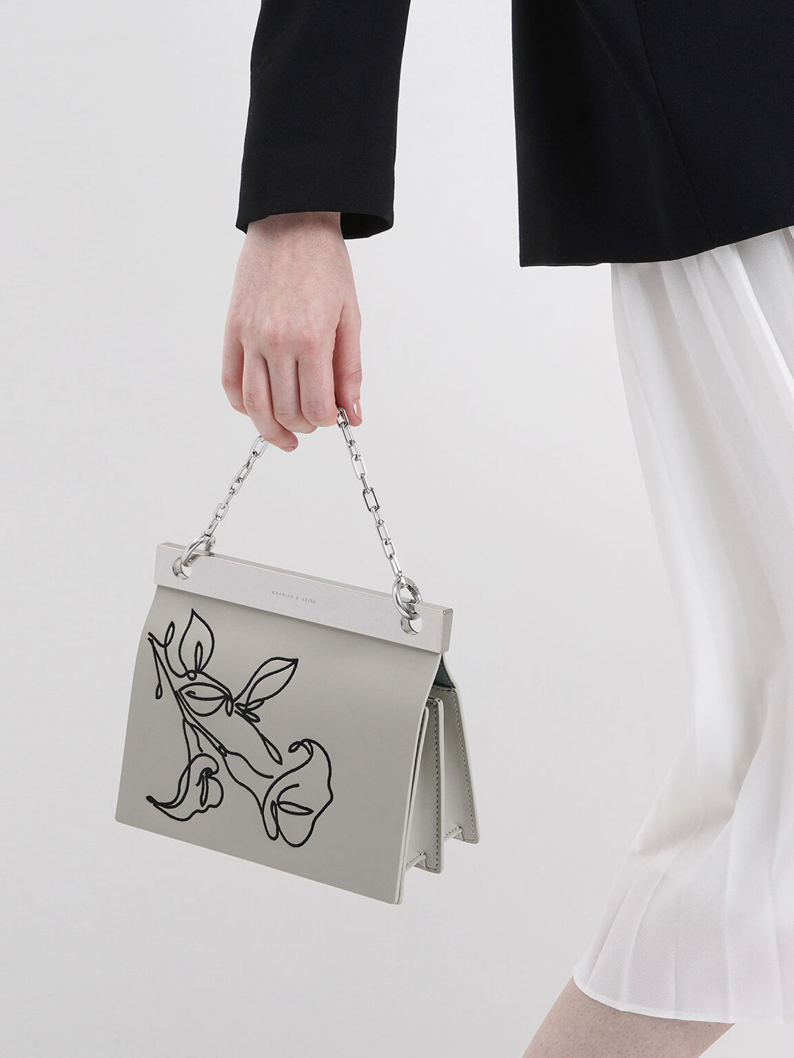 Floral Embroidered Chain Handle Bag, Chalk, hi-res