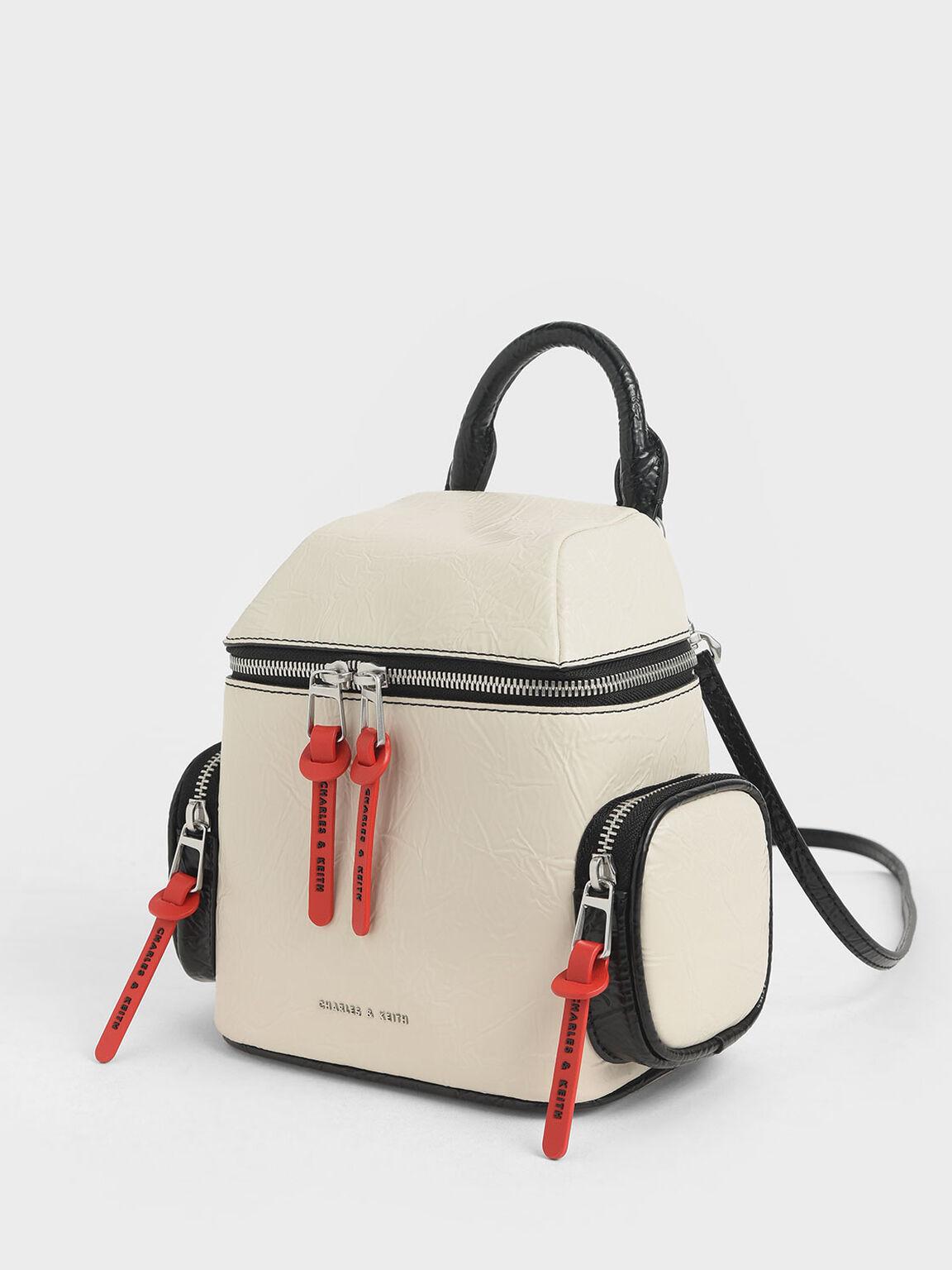 Wrinkled Effect Two-Way Zip Backpack, Cream, hi-res