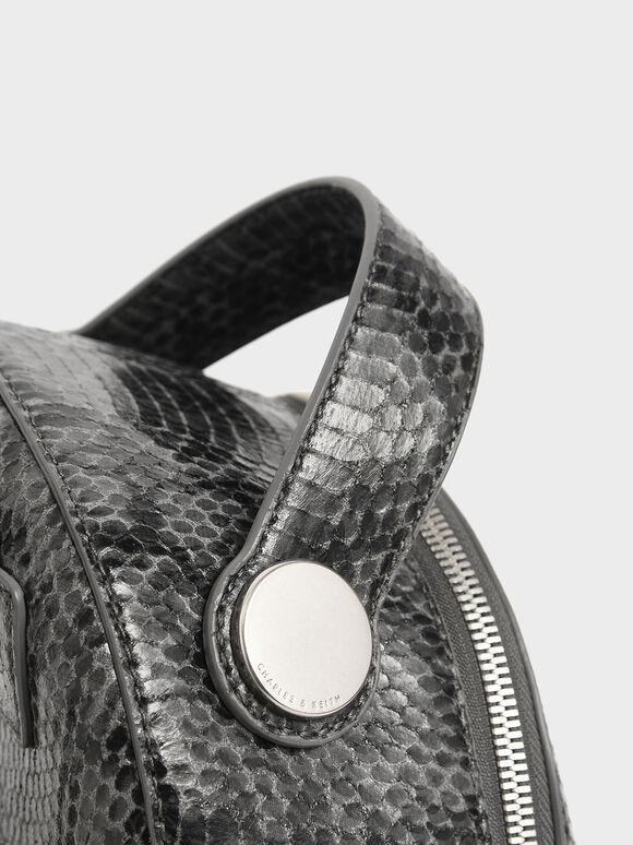 Snake Print Dome Backpack, Grey, hi-res