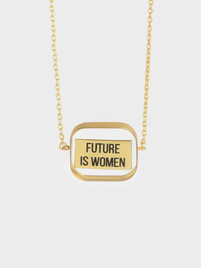 """FUTURE IS WOMEN"" Acrylic Necklace, Bronze"