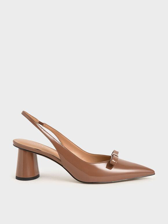 Patent Bow Slingback Court Shoes, Cognac, hi-res