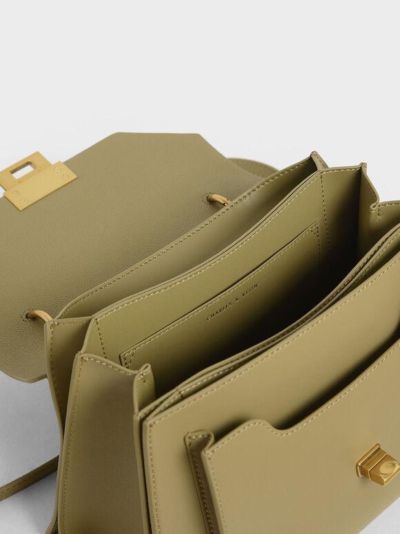 Stone-Embellished Geometric Bag, Khaki, hi-res