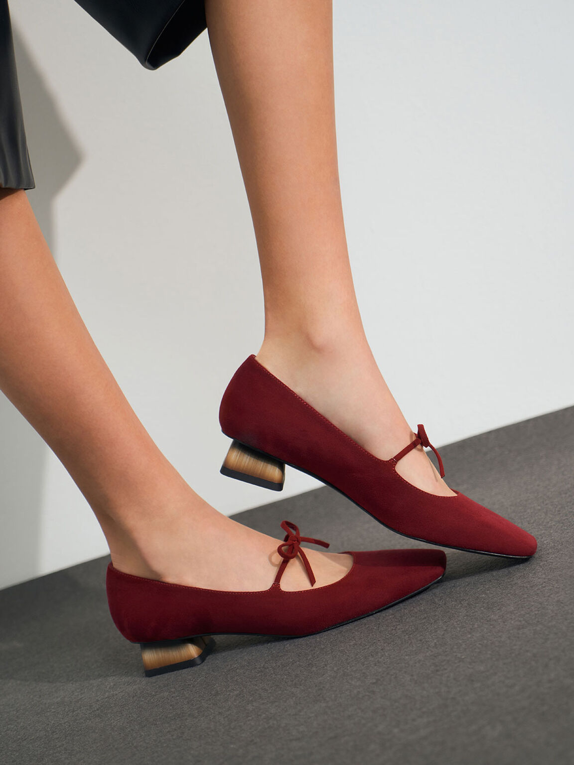 Bow Tie Mary Janes, Red, hi-res