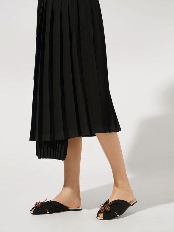 Cherry Embellished Peep-Toe Slide Sandals, Black, hi-res