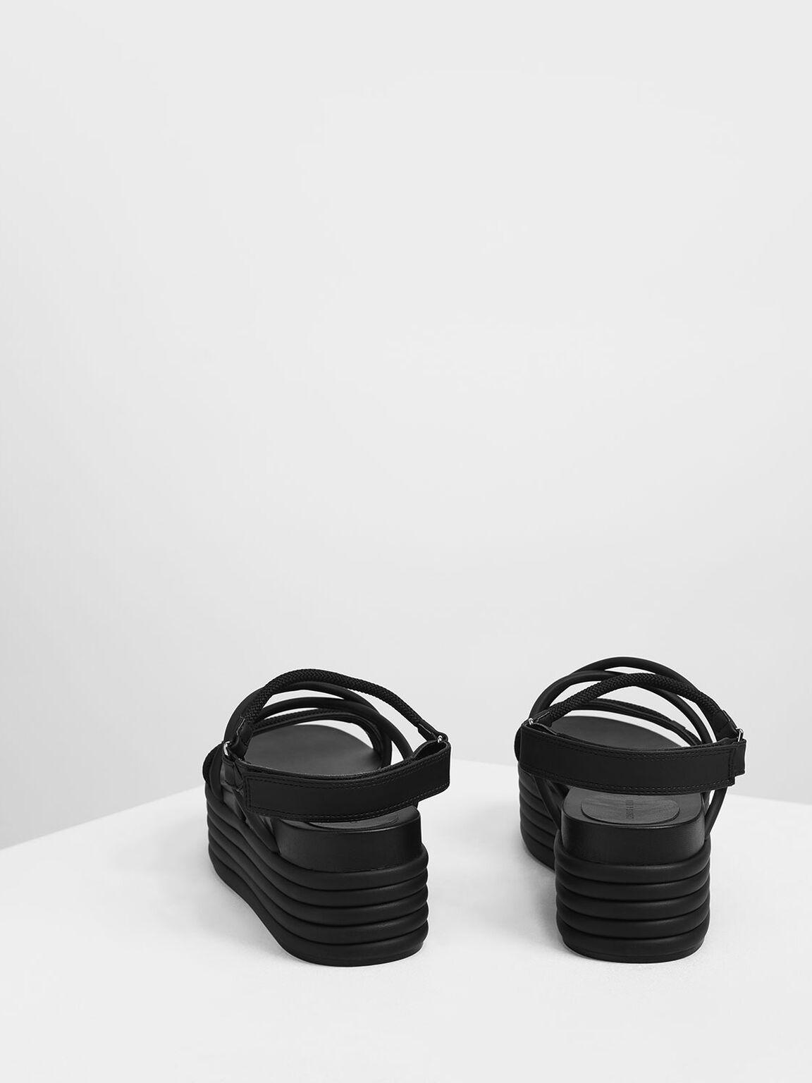 Strappy Flatforms, Black, hi-res