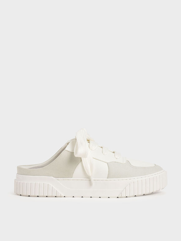 Microsuede Slip-On Trainers, White, hi-res