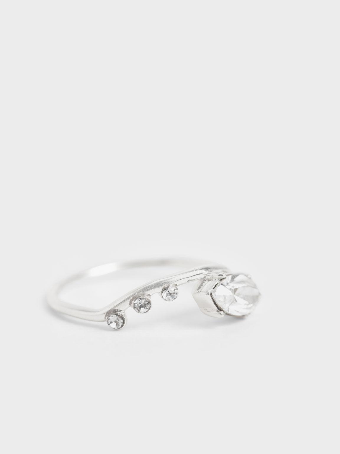 施華洛世奇®水晶幾何戒, 銀色, hi-res